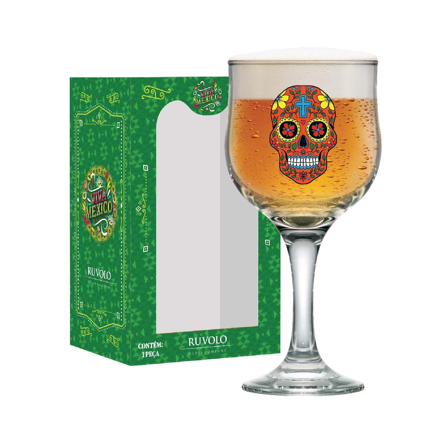 Taça de Cerveja Caveira Mexicana Vermelha Barcelona 300ml