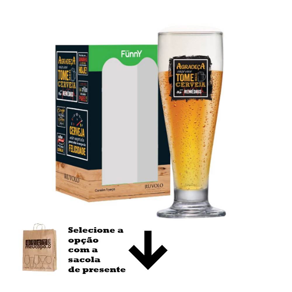 Taça de Cerveja com Frases Engraçadas Agradeça Tulipa 320ml