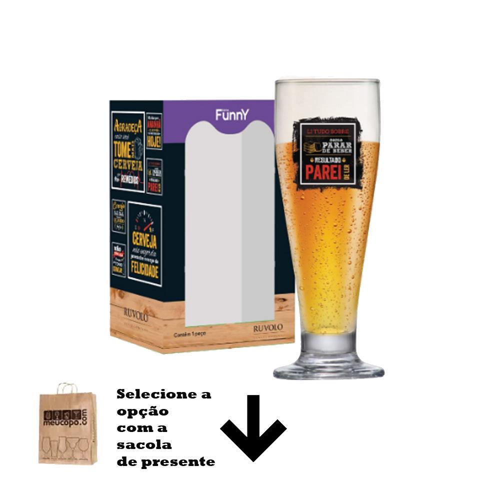 Taça de Cerveja com Frases Legais Li Tudo Tulipa 320ml