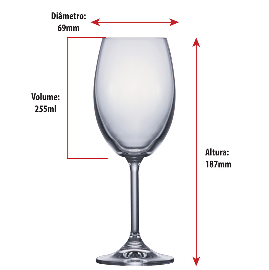 Taça de Cerveja Cristal Rio White Wine 255ml 6pcs