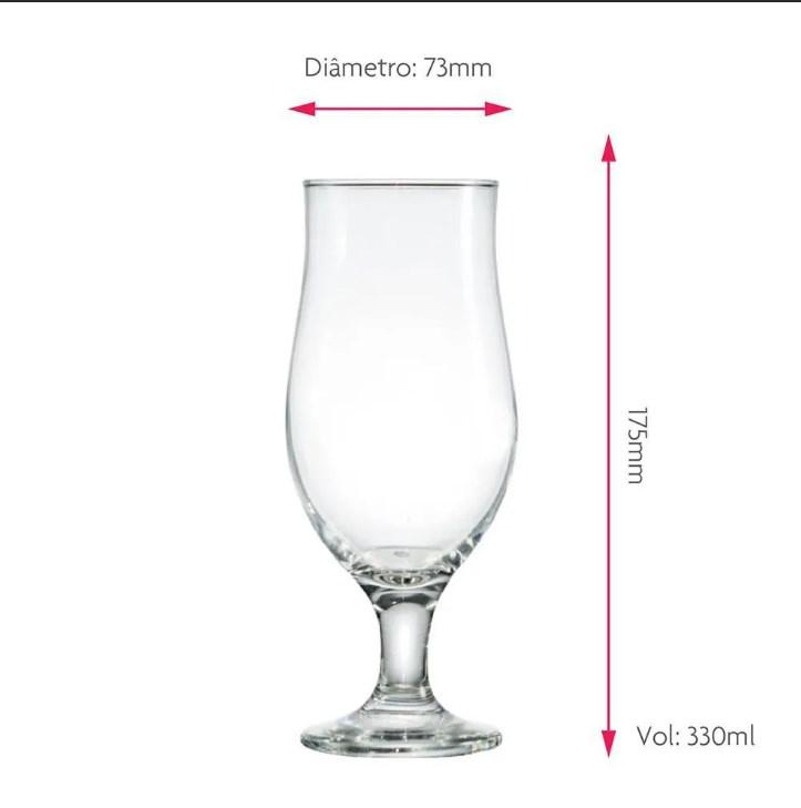 Taça de Cerveja de Vidro Meu Mozão de 330ml 2 Pcs