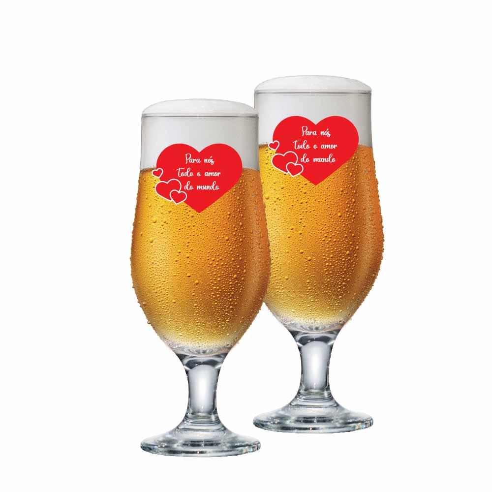 Taça de Cerveja de Vidro Todo Amor de 310ml 2 Pcs