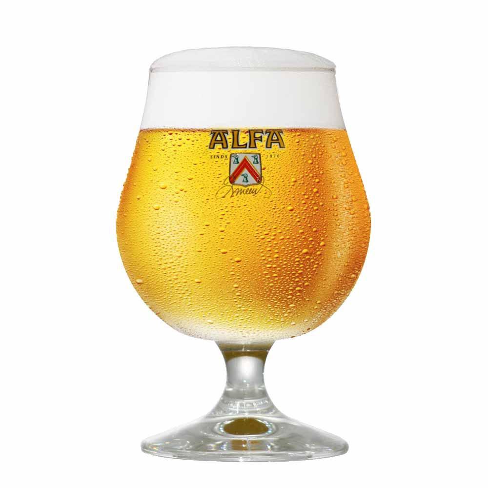 Taça de Cerveja Rótulo Frases Alfa Cristal 410ml