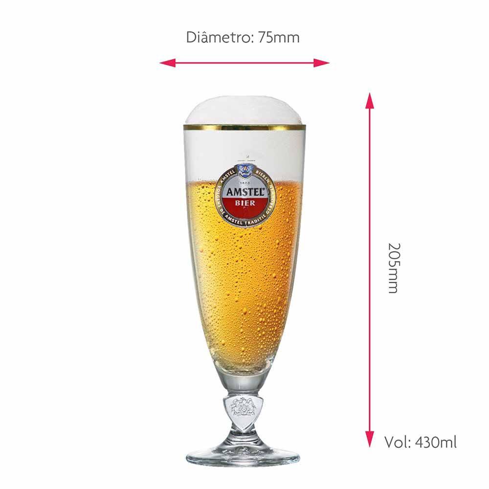 Taça de Cerveja Rótulo Frases Amstel Light Cristal 430ml