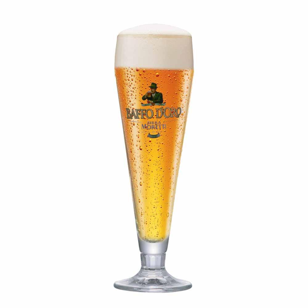 Taça de Cerveja Rótulo Frases Baffo Doro Cristal 490ml