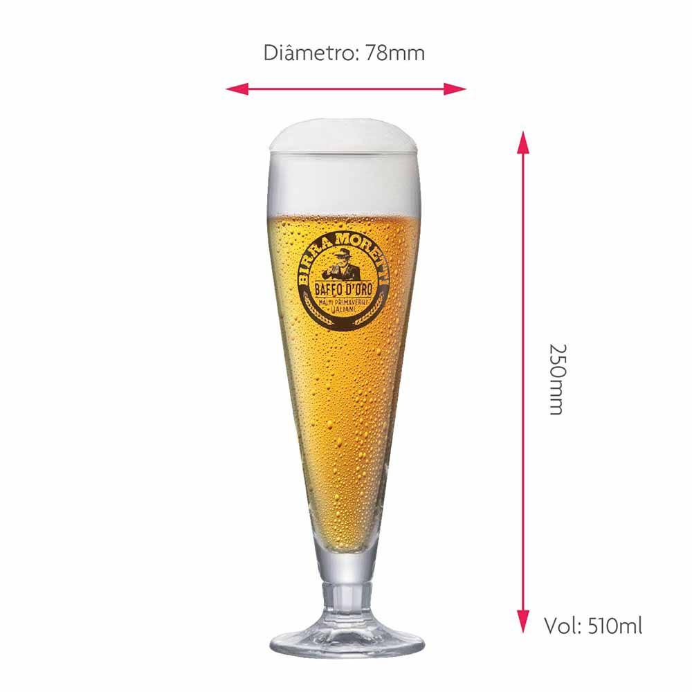 Taça de Cerveja Rótulo Frases Birra Moretti Baffo Doro Cristal 510ml