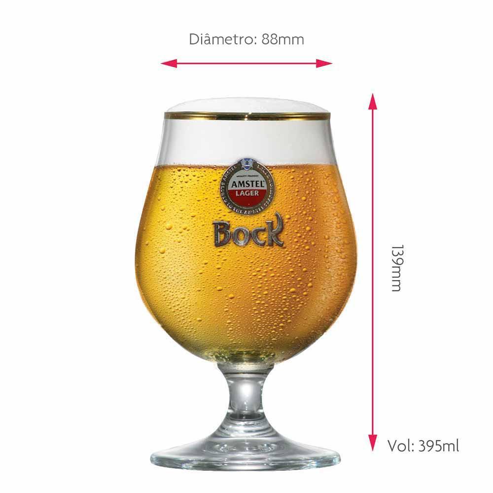 Taça de Cerveja Rótulo Frases Bock Amstel Cristal 395ml