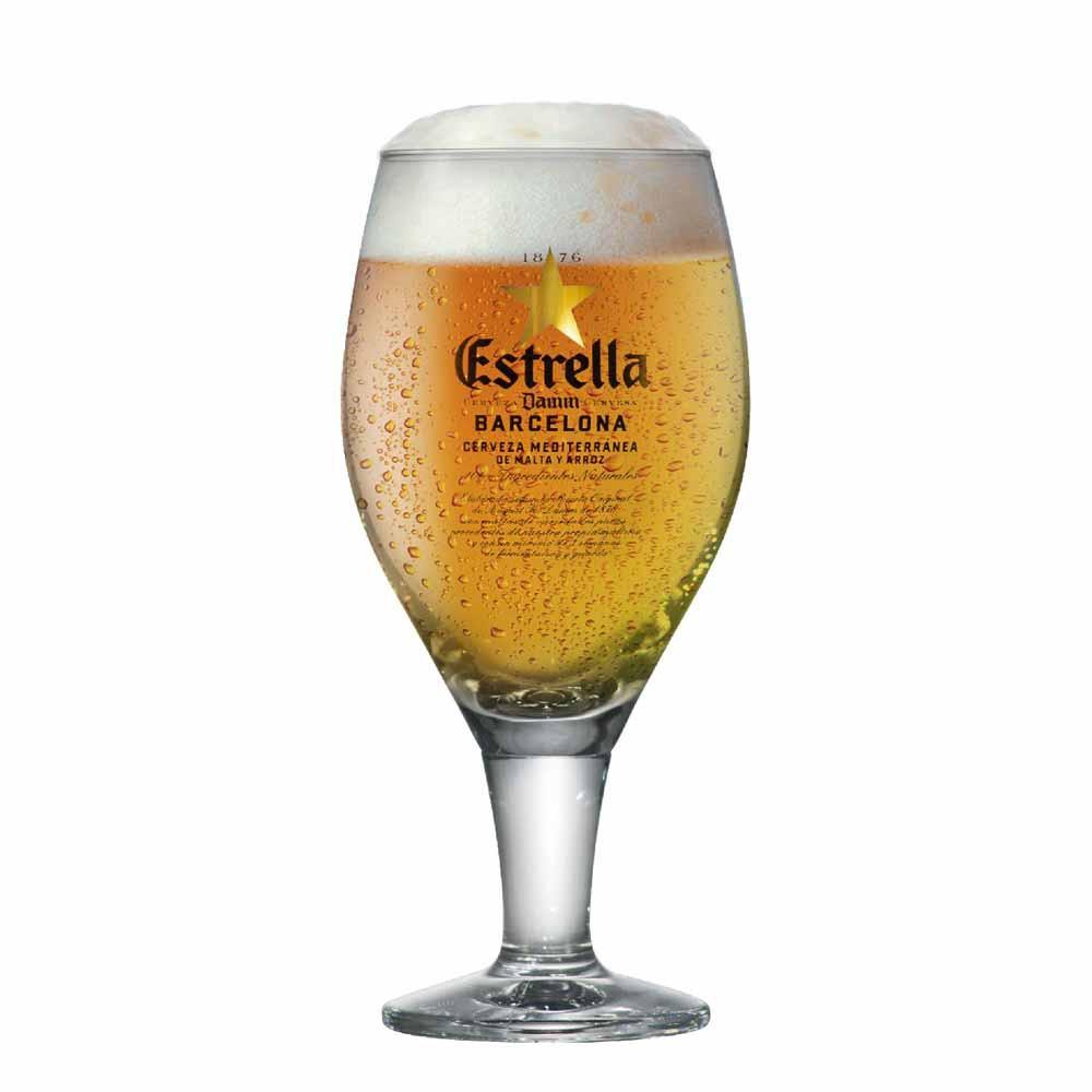 Taça de Cerveja Rótulo Frases Estrella Damm Cristal 430ml
