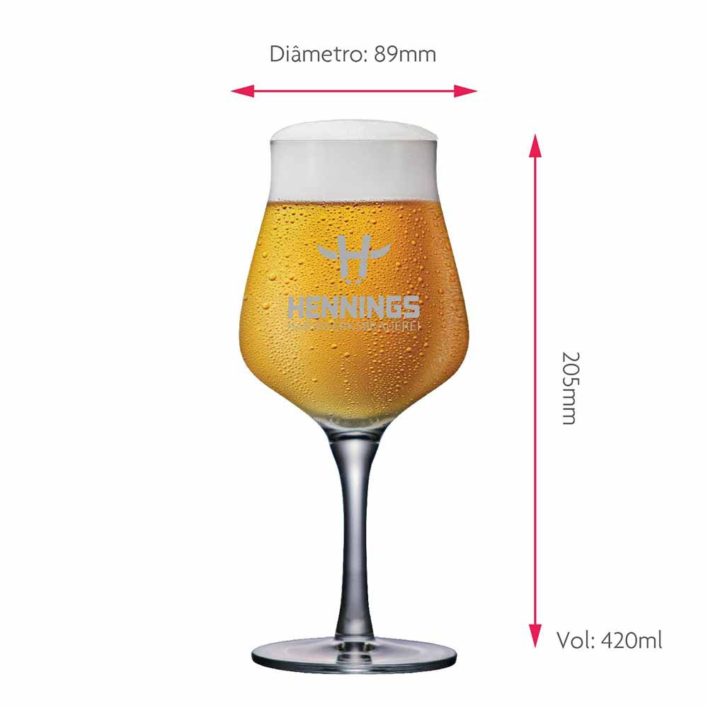 Taça de Cerveja Rótulo Frases Hennings Hand Cristal 420ml