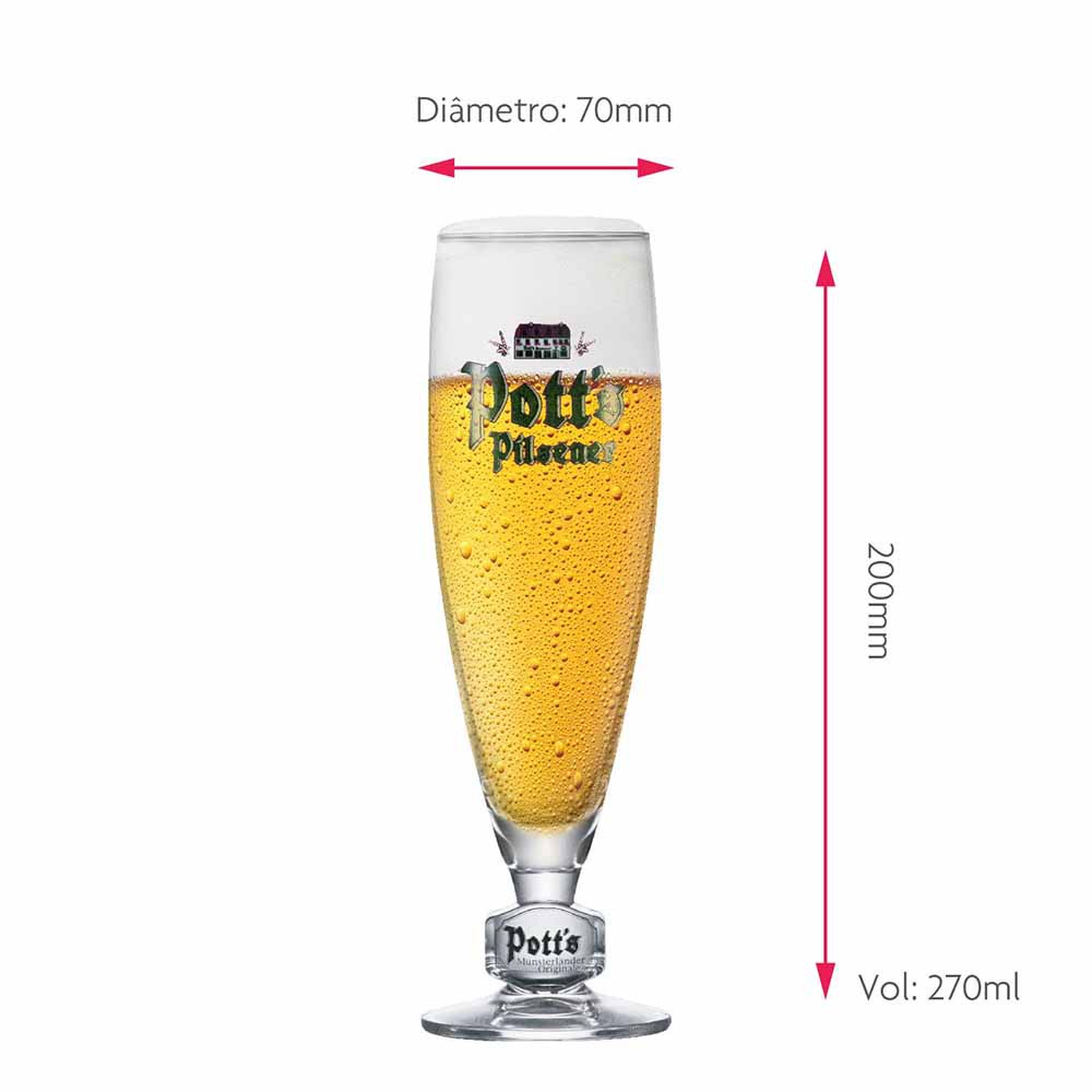 Taça de Cerveja Rótulo Frases Potts Pokal .20 Cristal 270ml