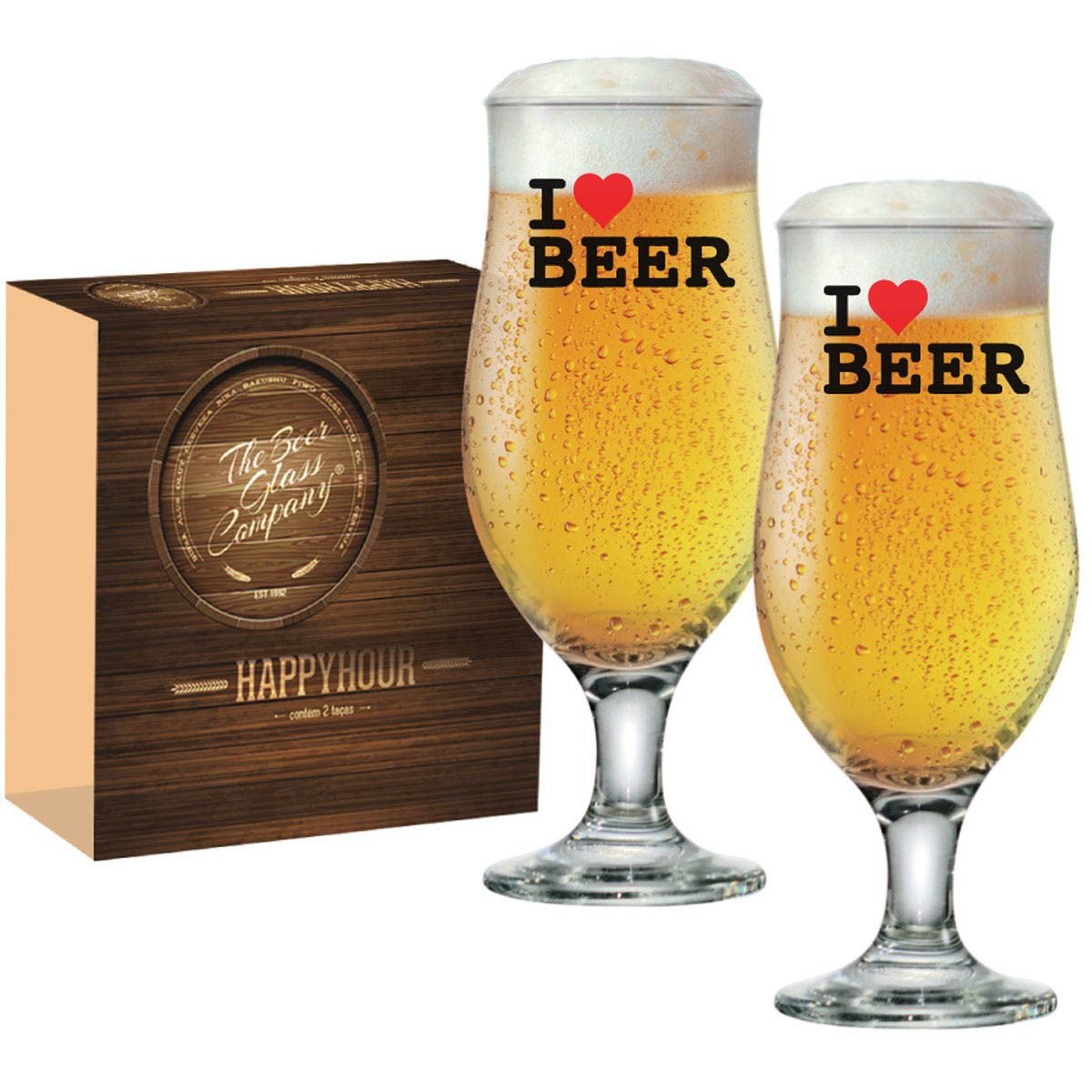 Taça de Cerveja Tulipa Royal Beer 330ml I Love Beer
