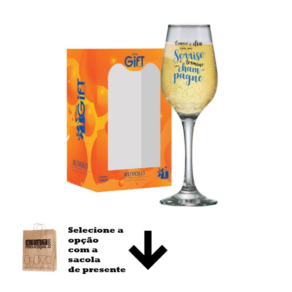Taça de Champagne Frases Divertidas Começe o Dia Akron 240ml