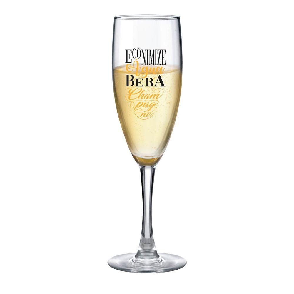 Taça de Champagne Frases Divertidas Economize Bourbon 150ml
