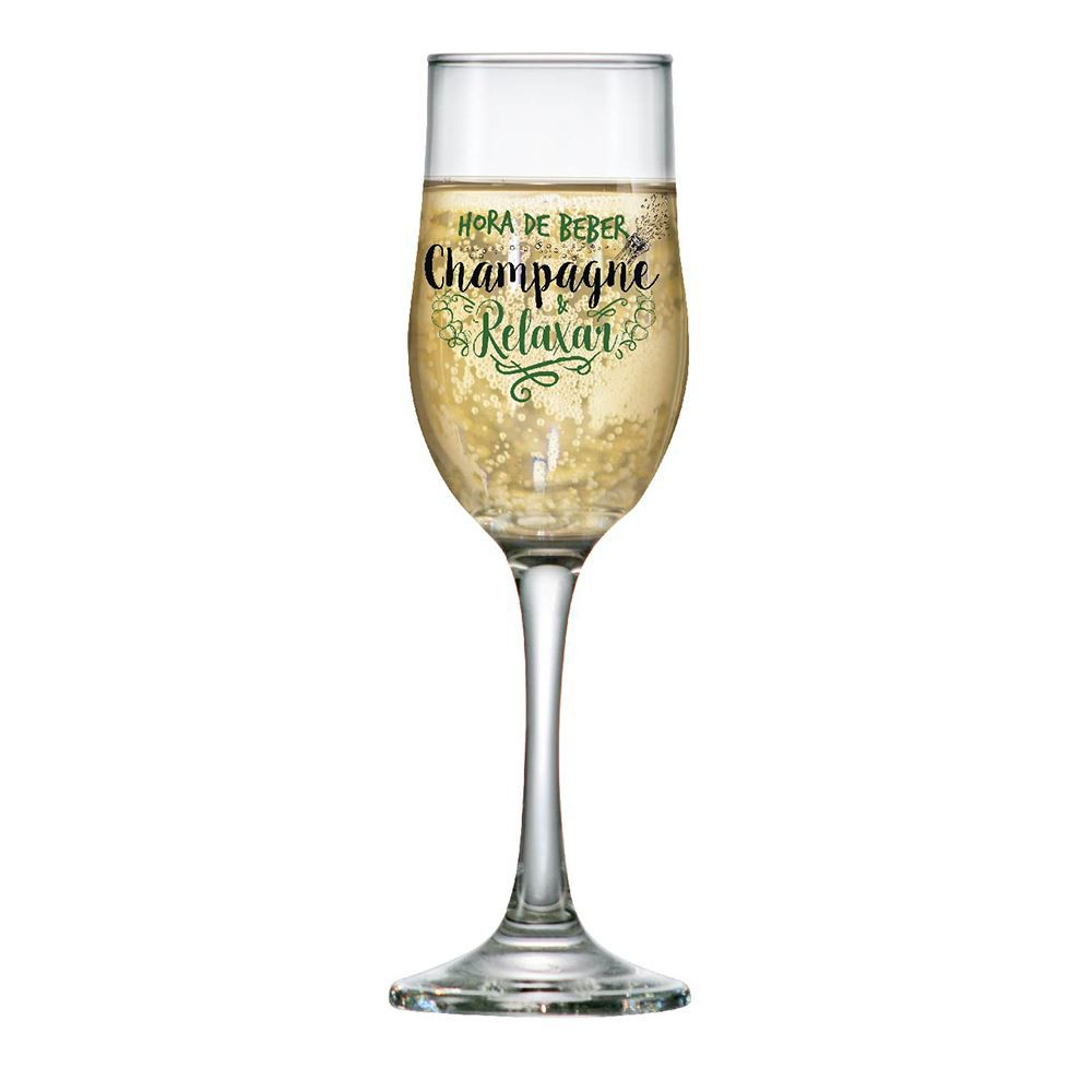 Taça de Champagne Frases Hora de Beber Barcelona 210ml