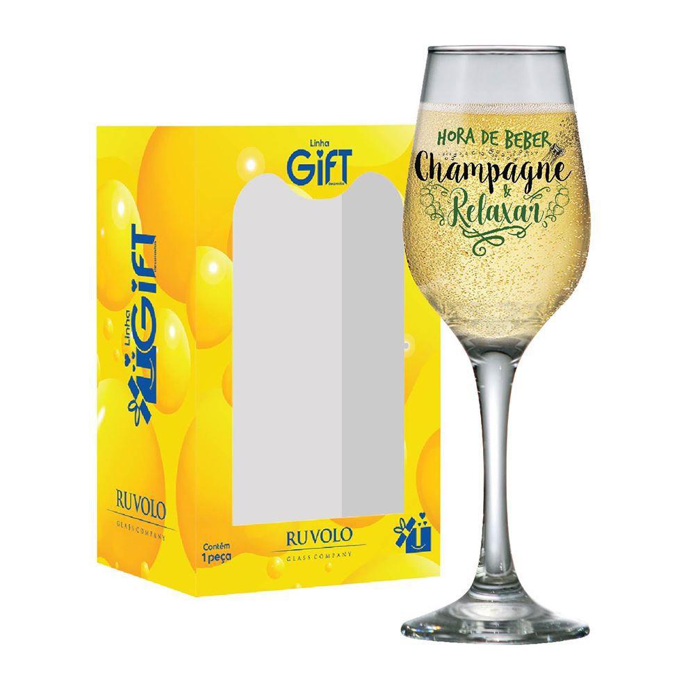 Taça de Champagne Frases Legais Hora de Beber Akron 240ml