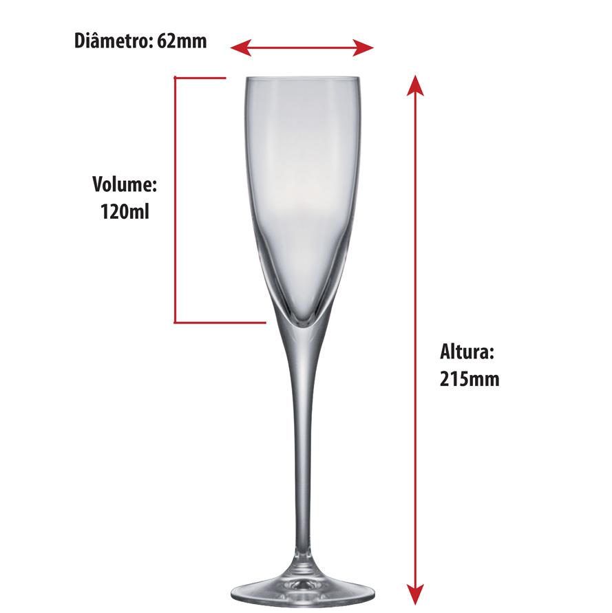 Taça de Champanhe de Cristal Da Vinci 120ml 6pcs