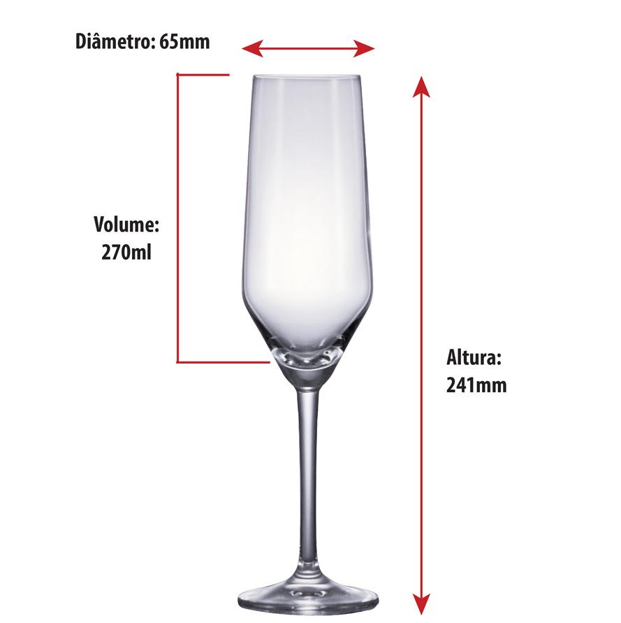 Taça de Champanhe Cristal Filomena 270ml 6 Pcs