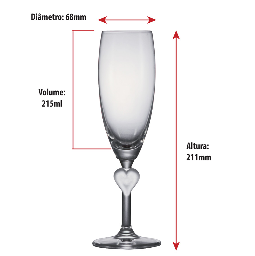 Taça de Champanhe Cristal Herzflutes White 215ml 2pcs