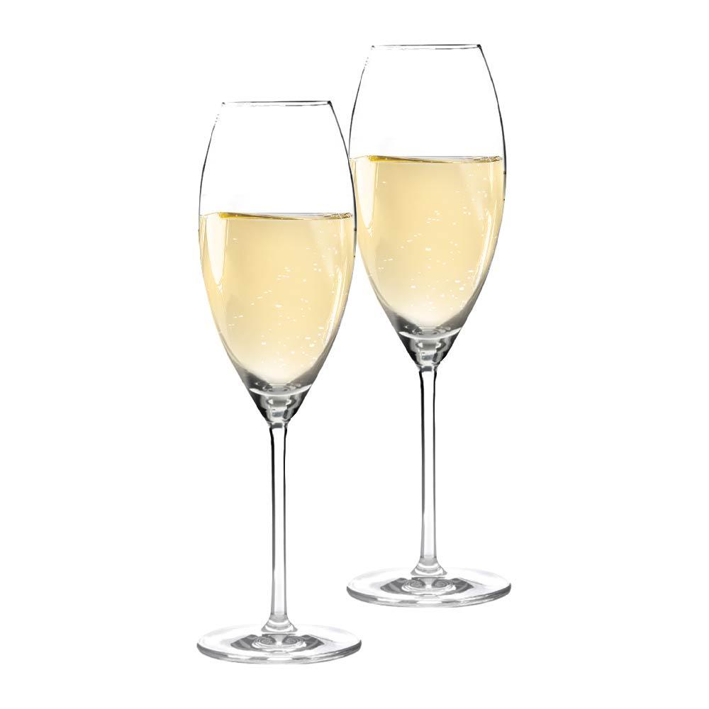 Taça de Champanhe de Cristal Aspergo 320ml 2 Pcs