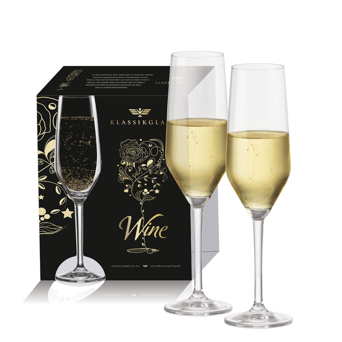 Taça de Cristal para Vinho Champagne Elegance de 270ml 2 pcs