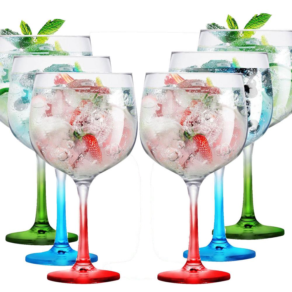 Taça de Gin de Vidro Degradê Colorida 650ml 2 Pc