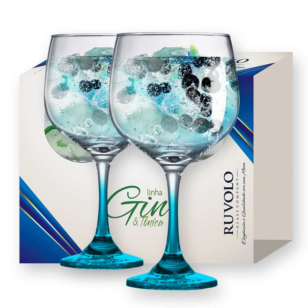 Taça de Gin Degrade de Vidro 650ml Azul 2 Pcs