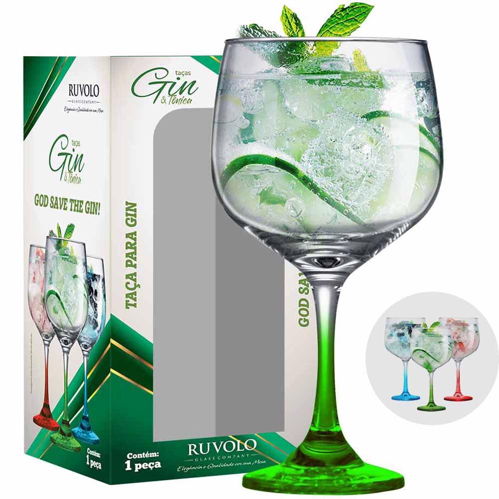 Taça de Gin Degrade de Vidro 650ml Verde