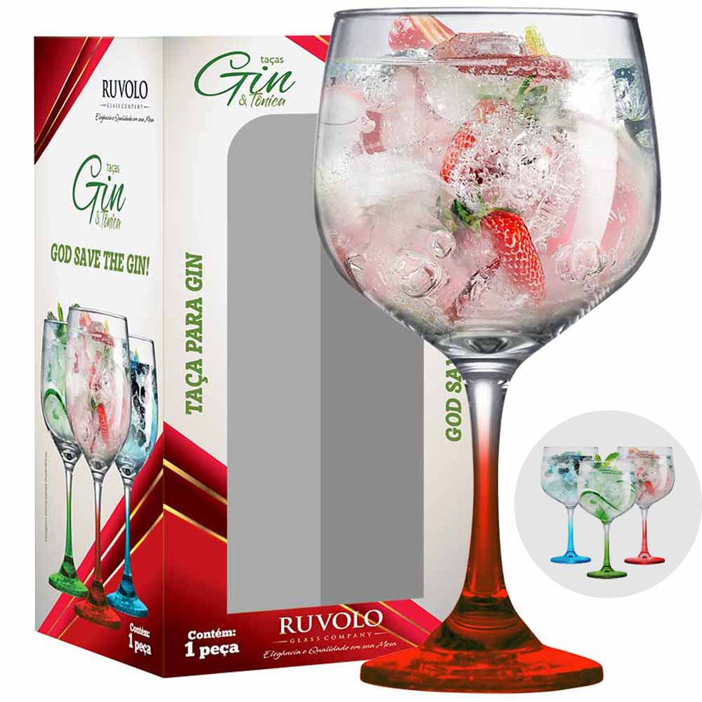 Taça de Gin Degrade de Vidro Vermelho 650ml