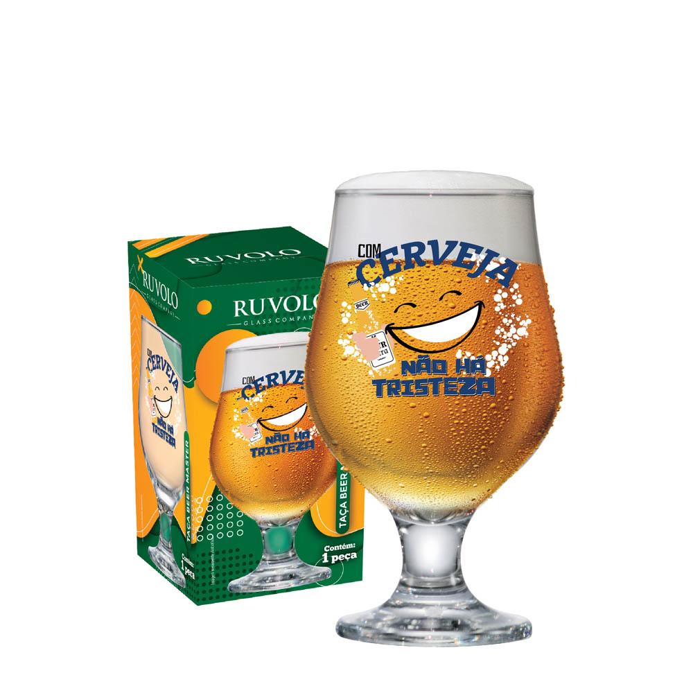 Taça de Vidro de Cerveja Beer Master Com Cerveja 395ml