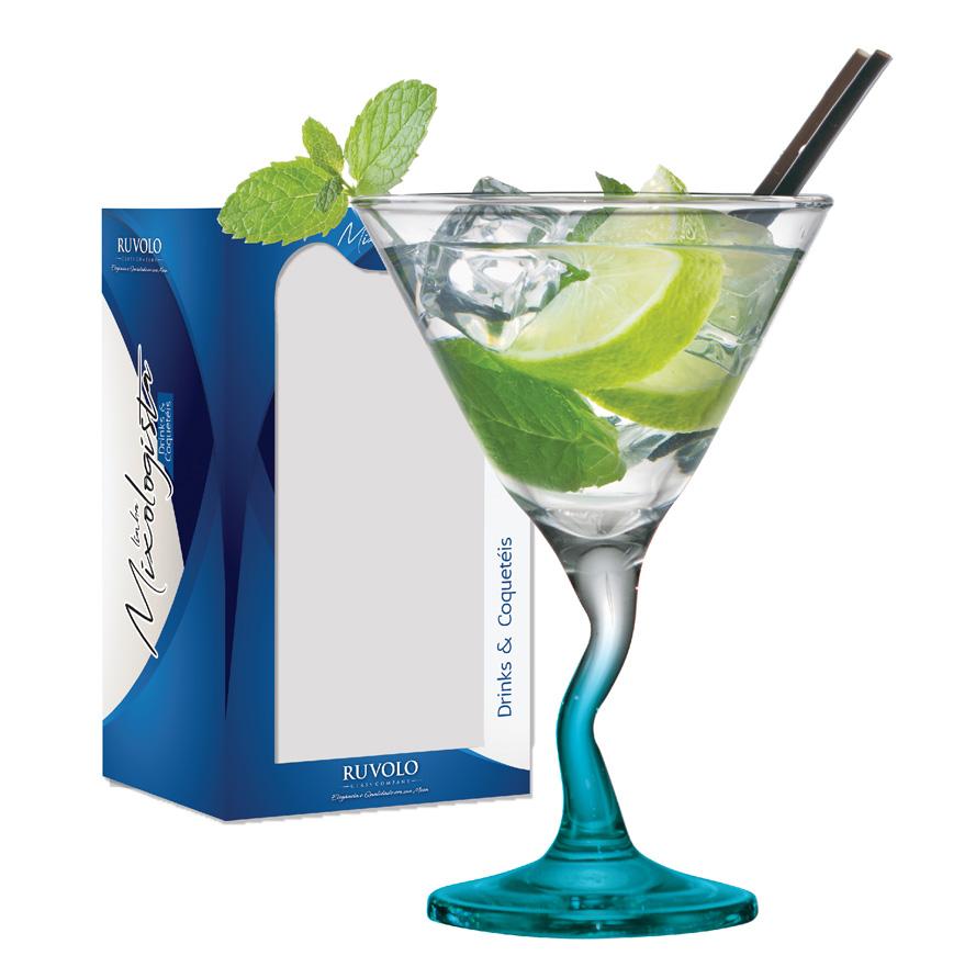 Taça de Vidro Martini Twister Haste Azul 285ml