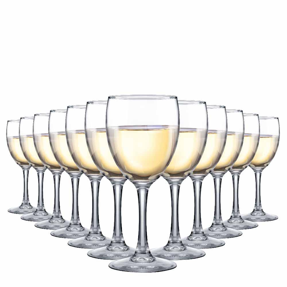 Taça de Vinho Branco de Vidro Temperado 230ml 12 Pcs