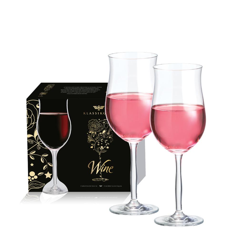 Taça de Vinho Rose Bordeaux de Cristal 430ml 2 Pcs