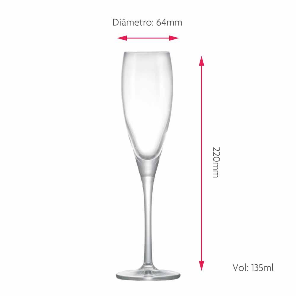 Taça de Vinho Proseco de Cristal 135ml
