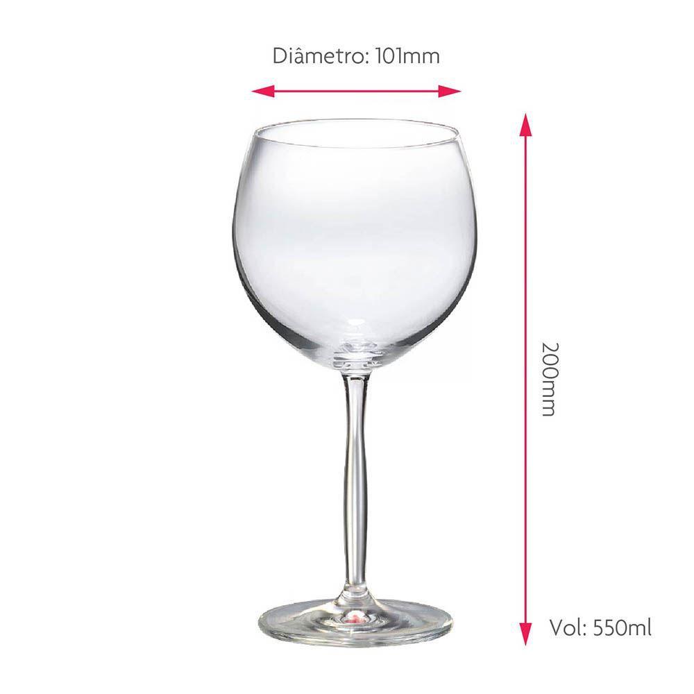 Taça para Vinho Tinto Bordeaux Gran Cristal 550ml