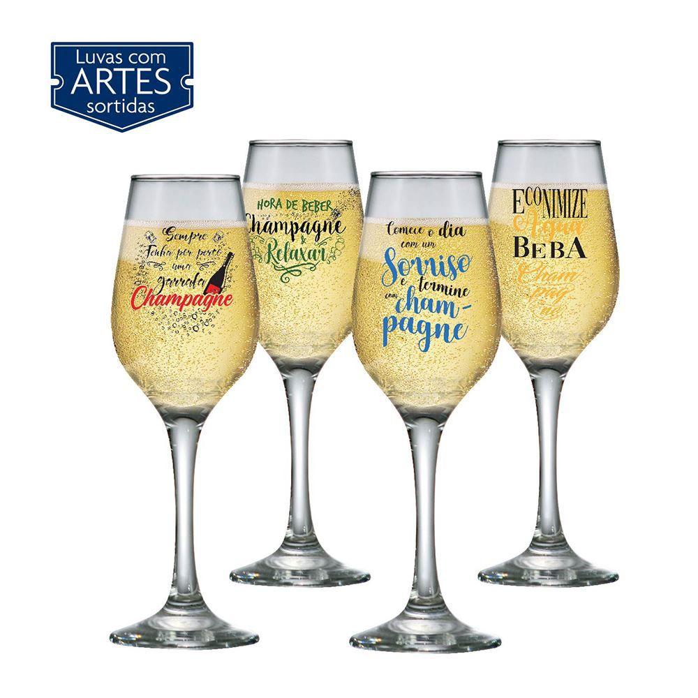 Taças de Champagne Frases Legais Coleção 4 Pcs Akron 240ml
