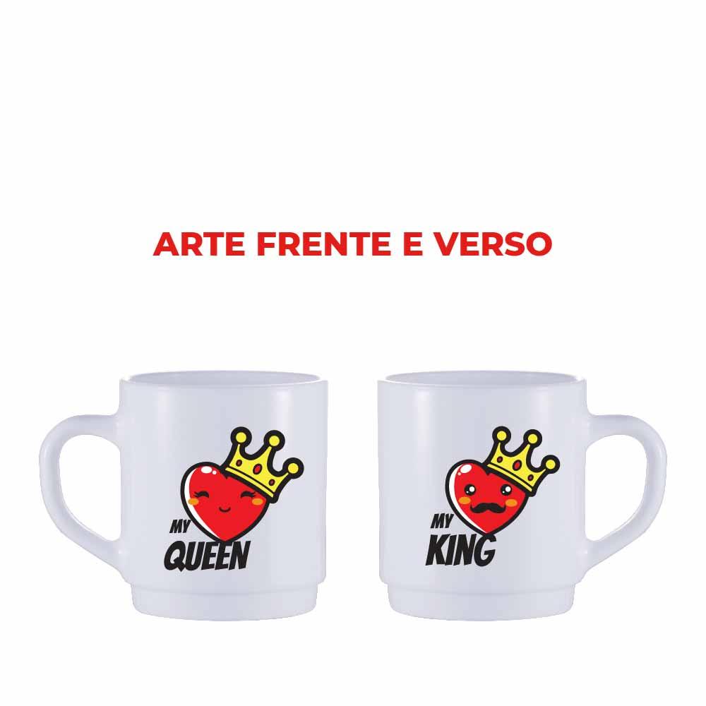 Caneca de Café de Vidro My King e My Queen de 310ml 2 Pcs