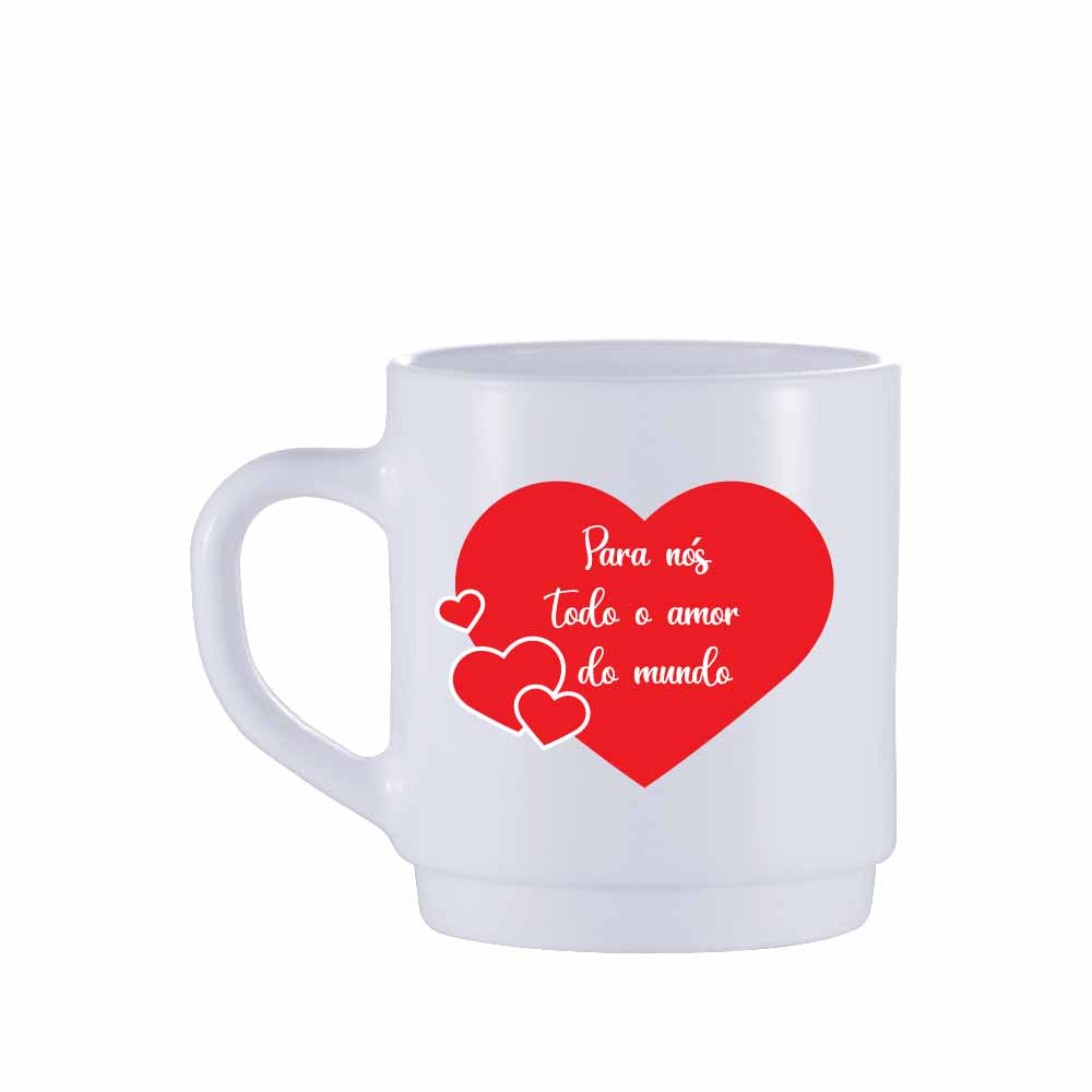 Caneca de Café de Vidro Todo Amor de 310ml 2 Pcs