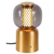 Abajur Sindora DCT01197 Alumínio/Vidro LED 06W 3000K 140x110x230mm - Champanhe/Transparente