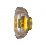 Arandela Bella FO016A Disko 1L LED 3000k 400lm 8W Bivolt IP20 100x230Ømm Dourado e Ambar