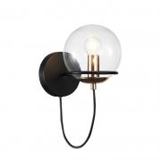 Arandela LED Bella DG002 Canela 1L E14 40W Bivolt IP20 Ø190x150mm Dourado/Preto e Transparente