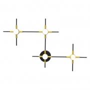 Arandela LED Bella FT002 Link 14W 3000K 700lm Bivolt IP20 390x600x50mm Dourado/Preto e Branco