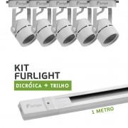 Kit Furlight Trilho 100cm com 5 Spots Dicróica/PAR16 Branco