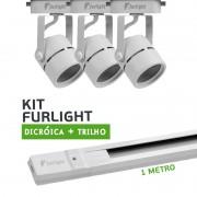 Kit Furlight Trilho 100cm com 3 Spots Dicróica/PAR16 Branco