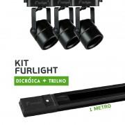 Kit Furlight Trilho 100cm com 3 Spots Dicróica/PAR16 Preto