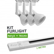Kit Furlight Trilho 100cm com 3 Spots PAR30 Branco
