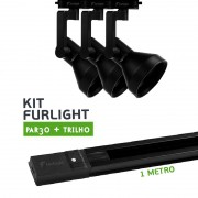 Kit Furlight Trilho 100cm com 3 Spots PAR30 Preto