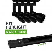 Kit Furlight Trilho 100cm com 4 Spot PAR20 Preto