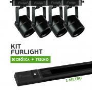 Kit Furlight Trilho 100cm com 4 Spots Dicróica/PAR16 Preto
