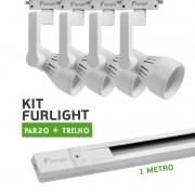 Kit Furlight Trilho 100cm com 4 Spots PAR20 Branco