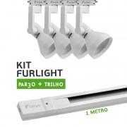 Kit Furlight Trilho 100cm com 4 Spots PAR30 Branco